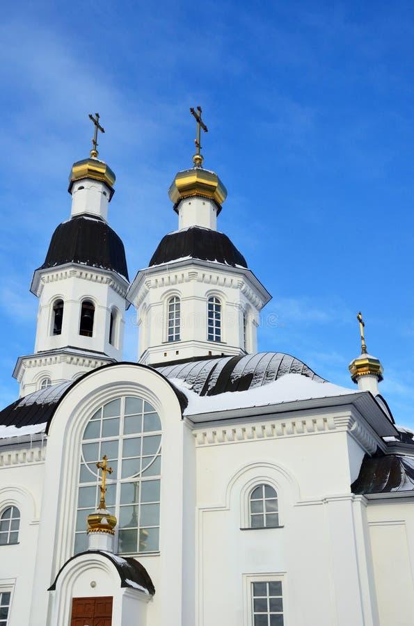 Arkhangelsk, Russie, l'église de l'acceptation de la mère de l'église d'Uspenskaya de Dieu dans Arkhan images stock