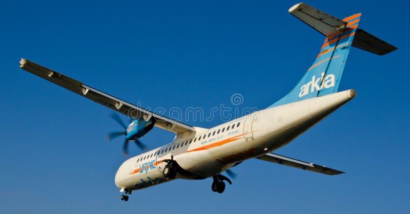 Arkia het aankomen vliegtuig stock afbeeldingen