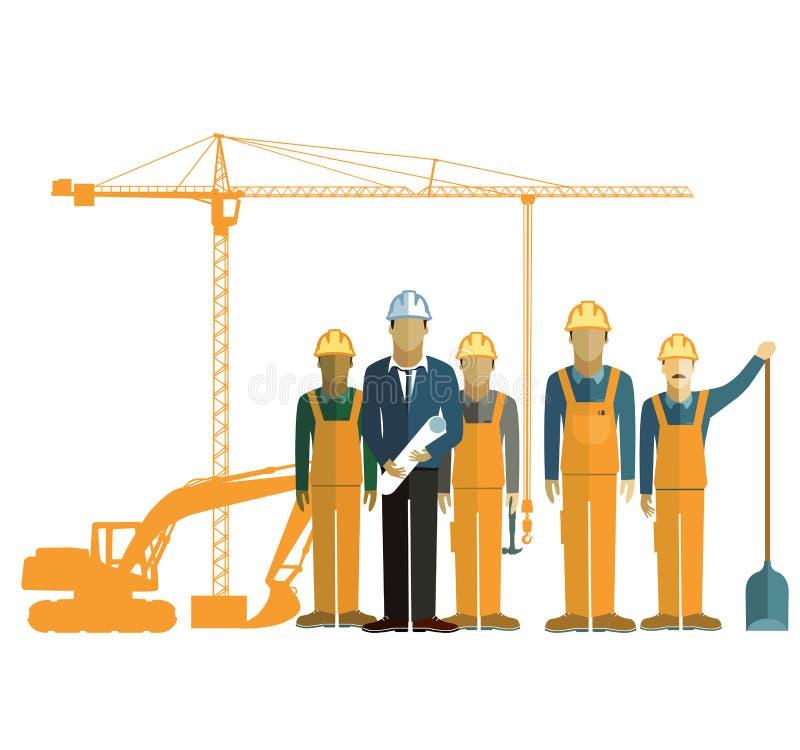 Arkitekt och konstruktionsbesättning på plats stock illustrationer