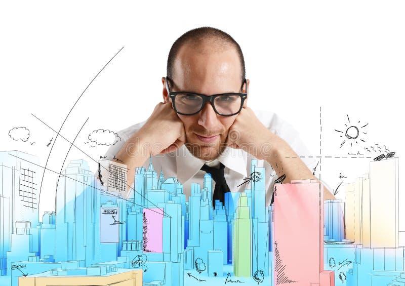 Arkitekt och nytt projekt royaltyfri bild