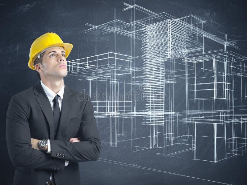 Arkitekt och projekt av moderna byggnader arkivfoto
