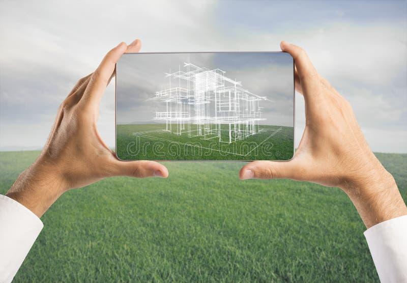 Arkitekt som visar projekt för nytt hus royaltyfri bild