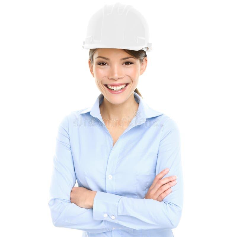 Arkitekt-, tekniker- eller entreprenöraffärskvinna royaltyfri bild