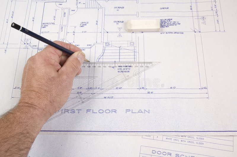 Arkitekt upprättandeplan för ett hus royaltyfri bild