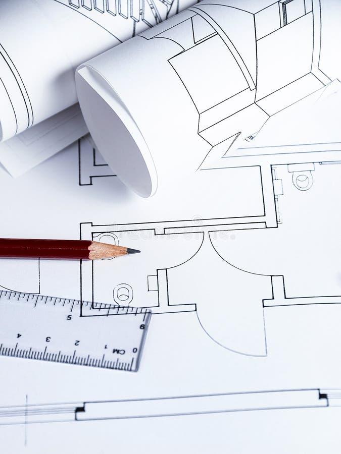 Arkitektarbetsplats arkivfoto