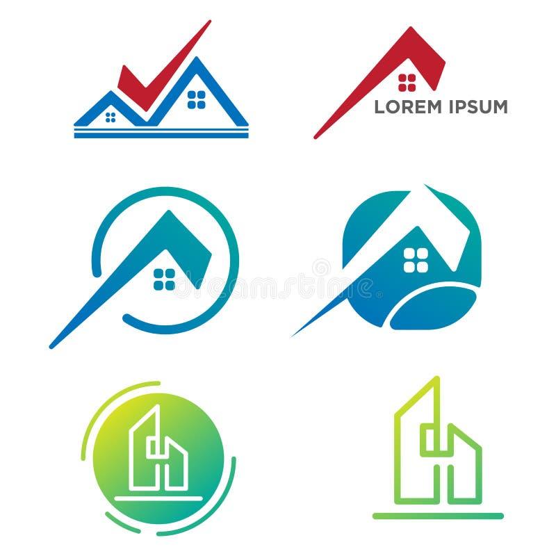 arkitekten byggande, den fastställda mallvektorn för den idérika logoen isolerade beståndsdelar vektor illustrationer