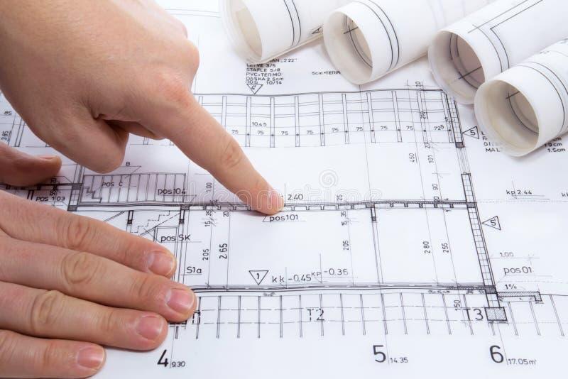 Arkitekten som drar rullar och, planerar ritningar royaltyfri fotografi
