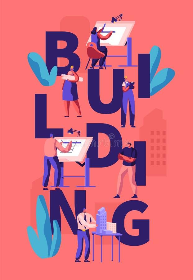 Arkitekter och teknikerer som arbetar p royaltyfri illustrationer