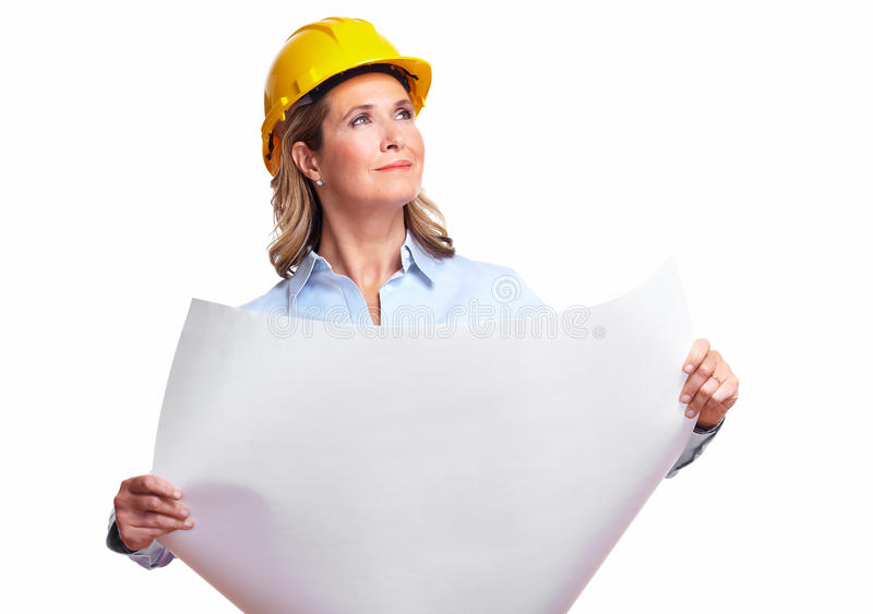 Arkitektkvinna med ett plan. royaltyfria foton