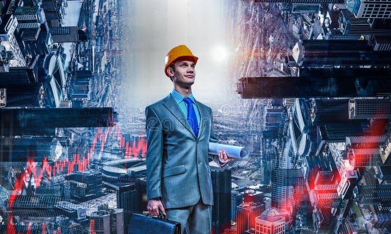 Arkitektman och hans projekt Blandat massmedia stock illustrationer
