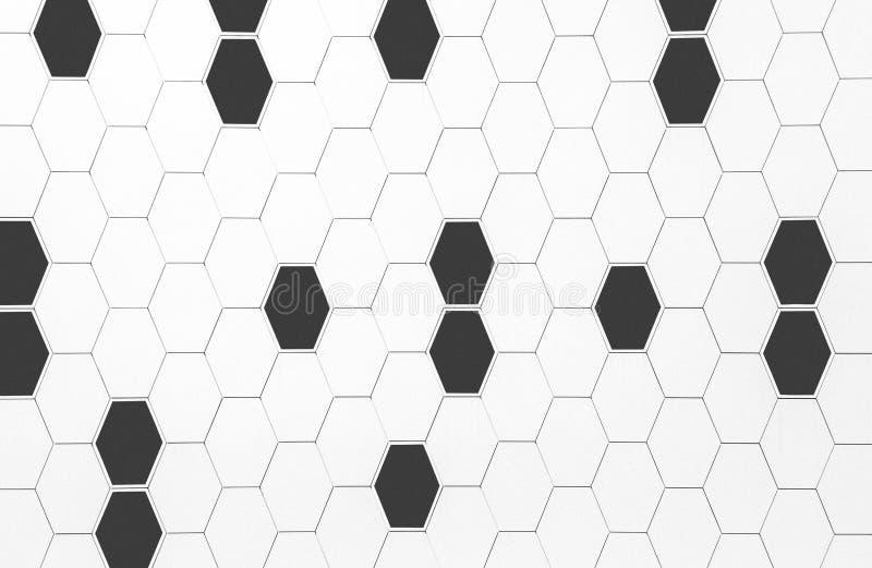 Arkitektonisk abstrakt vägg med svartvit geometrisk hexag stock illustrationer