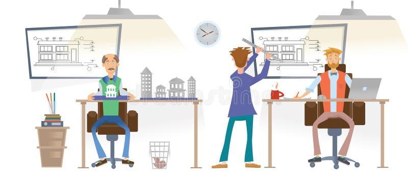 Arkitektonisk byrå Arkitektarbete med teckningar i kontoret Arkitektoniska modeller är på skrivborden Män i royaltyfri illustrationer
