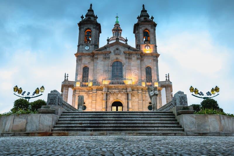 Arkitektonisk detalj av basilikan av vår dam av Sameiro nära Braga royaltyfri fotografi