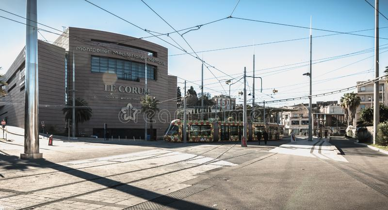 Arkitektonisk detalj av Corumen, en konventcentrum och opera Berlioz i Montpellier, Frankrike arkivbild