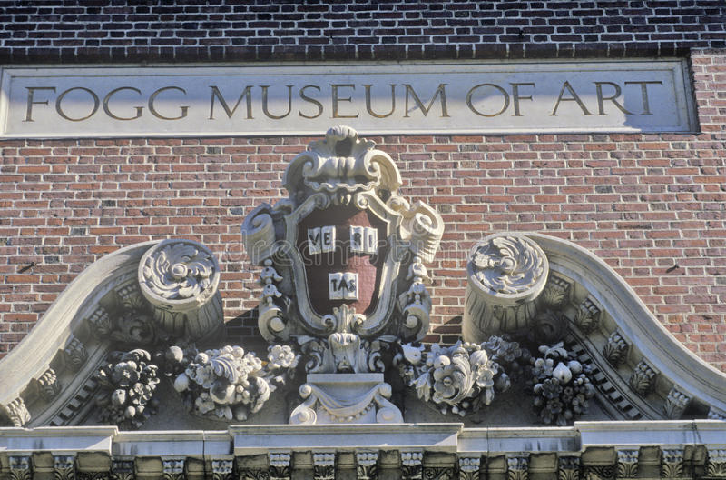 Arkitektonisk detalj av Foggen Art Museum, Cambridge, Massachusetts arkivfoto