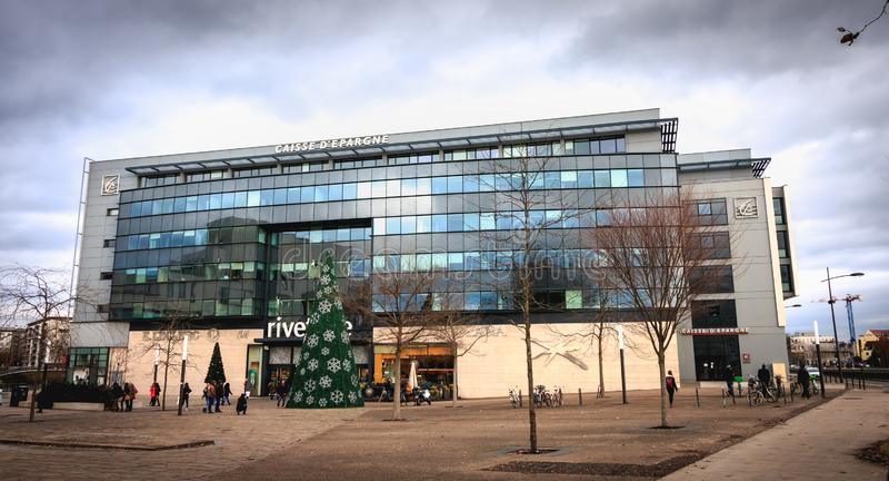 Arkitektonisk detalj av huvudkontoret av Societe Generale storslagen Est Europa royaltyfria foton