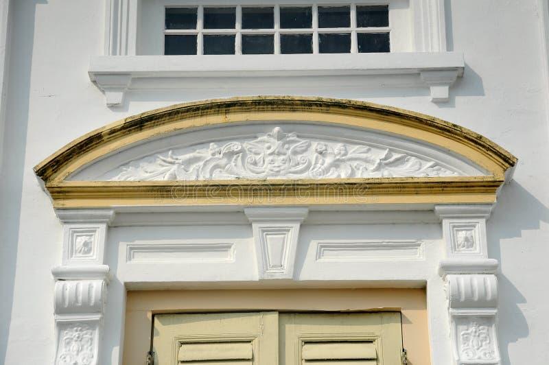 Arkitektonisk detalj av Sultan Abu Bakar State Mosque i Johor Bharu, Malaysia royaltyfri bild