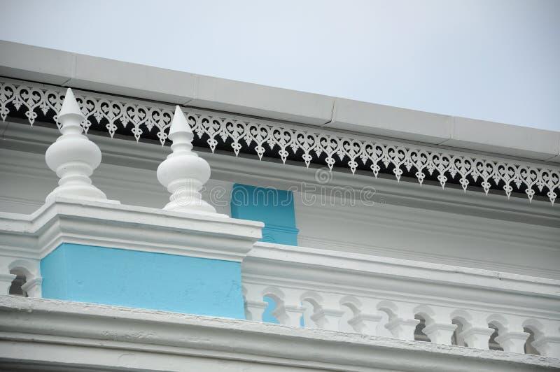 Arkitektonisk detalj av Sultan Ibrahim Jamek Mosque Moskén byggdes på 1927 och ställning nära munnen av den Muar floden på Mu arkivbild