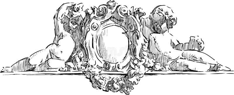 Arkitektonisk detalj med änglar stock illustrationer