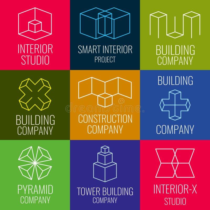 Arkitektonisk firma, studior för inredesign, linje vektorlogoer för konstruktionsföretag med den isometriska strukturen för kuber stock illustrationer