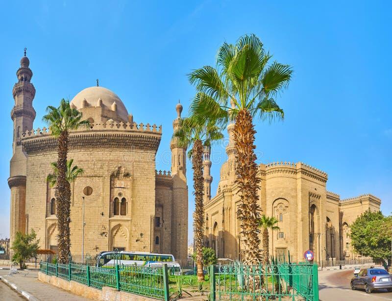 Arkitektonisk helhet av Sultan Hassan och för al-Rifa 'I moskéer, C royaltyfria bilder