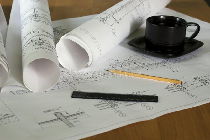 arkitektonisk teckning arkivbild