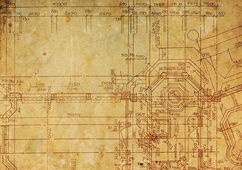 Arkitektonisk teckning för tappning vektor illustrationer