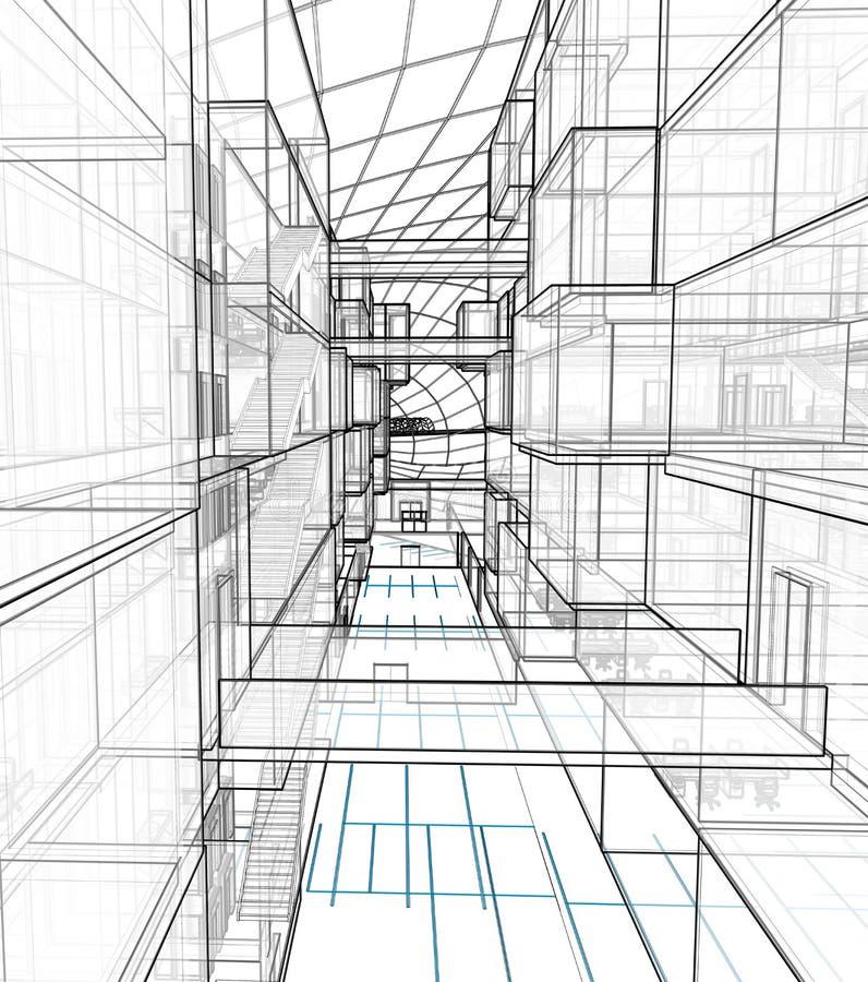 Arkitektonisk teckning och perspektiv arkivbild