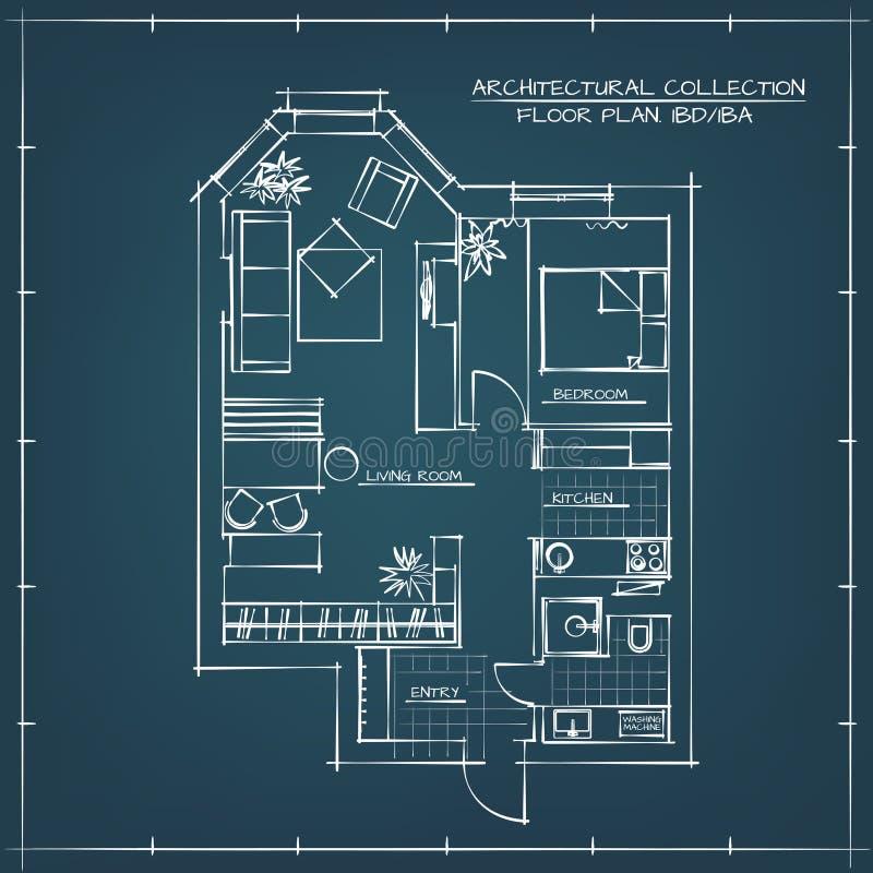 arkitektonisk textur för bakgrundsgolvplan vektor illustrationer