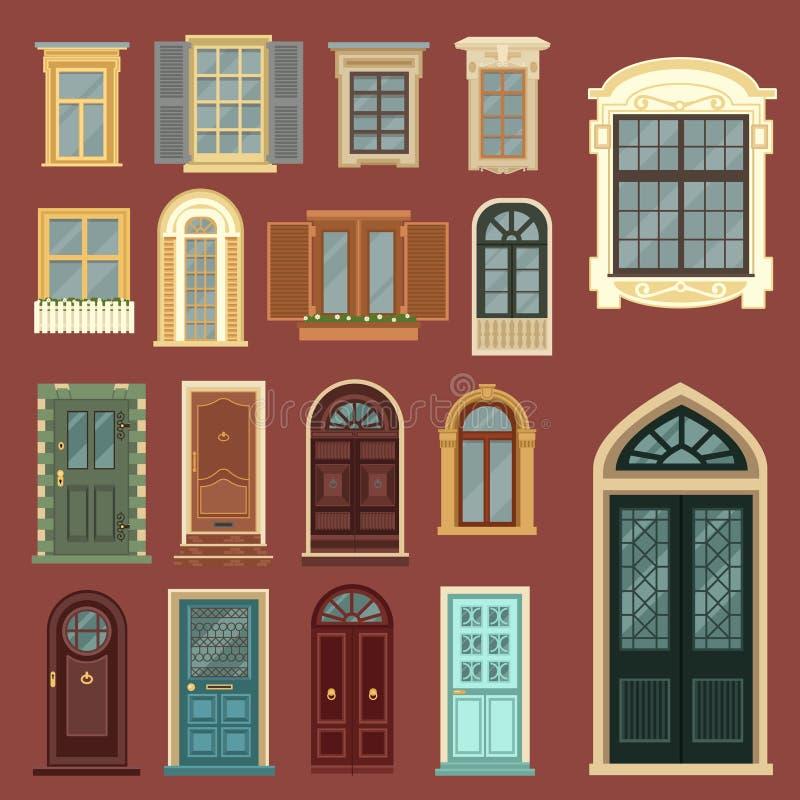 Arkitektonisk uppsättning av europeiska tappningdörrar och Windows arkivfoton