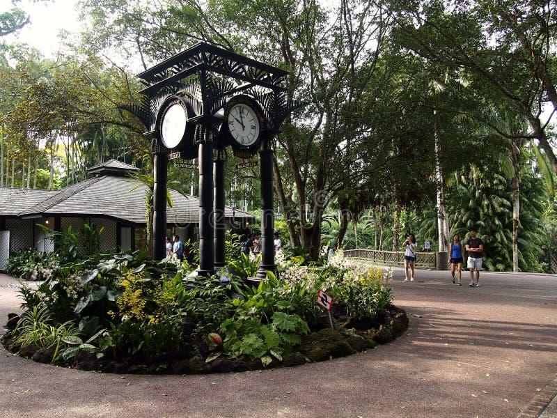 Arkitektoniska designer inom de Singapore botaniska trädgårdarna i Singapore royaltyfria foton