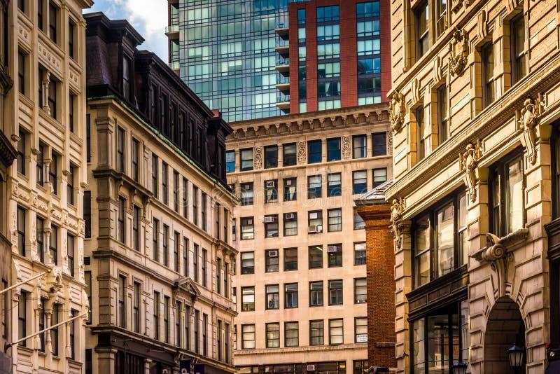 Arkitektoniska detaljer av byggnader i Boston, Massachusetts royaltyfria foton