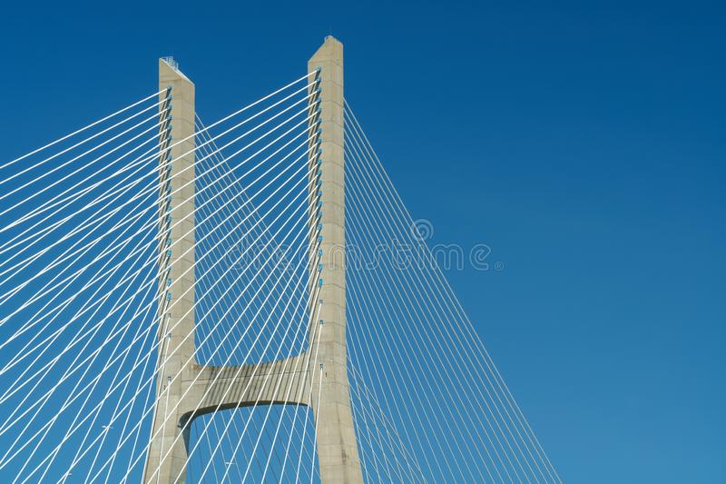 Arkitektoniska detaljer av 25 de Abril Bridge 25th April Bridge In Lisbon royaltyfria bilder