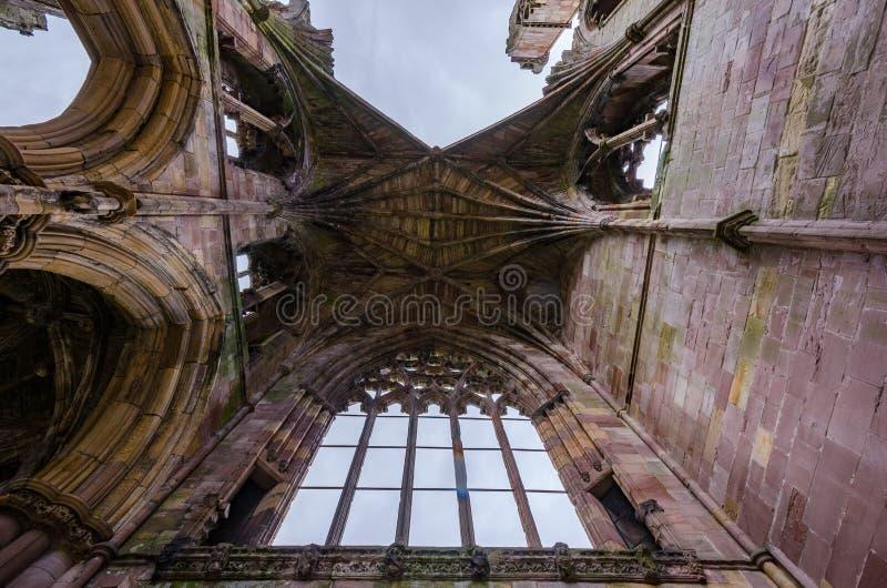 Arkitektoniska detaljer av Melroseabbotskloster royaltyfri foto