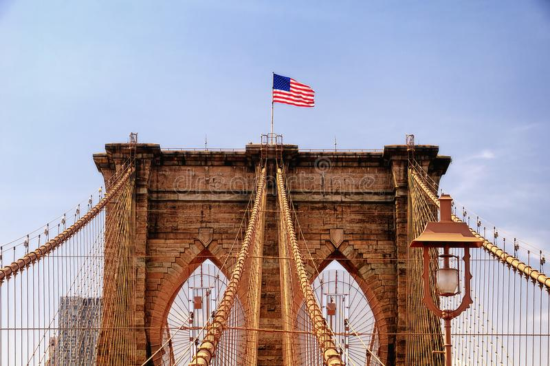 Arkitektoniska detaljer NYC för Brooklyn bro royaltyfri fotografi