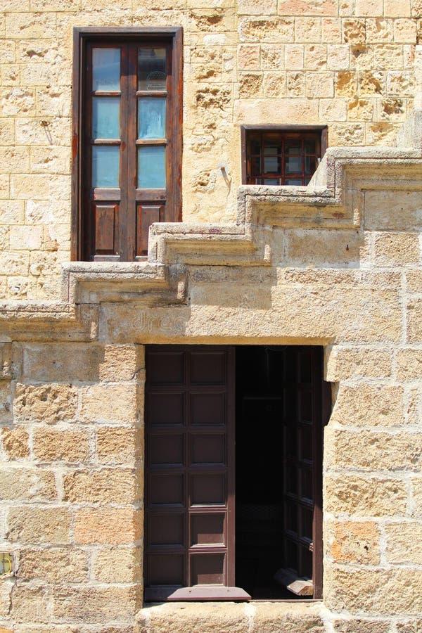 Arkitektoniska detaljer på den gamla staden, Rhodes Island, Grekland arkivfoton