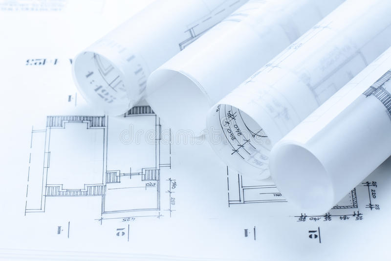 arkitektoniska konstruktionsplan royaltyfri foto