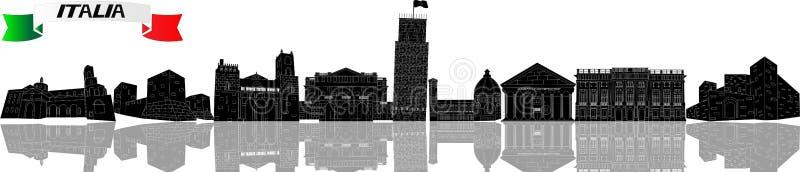 Arkitektoniska monument av Italien på en vit bakgrund Svarta konturer av sikt stock illustrationer