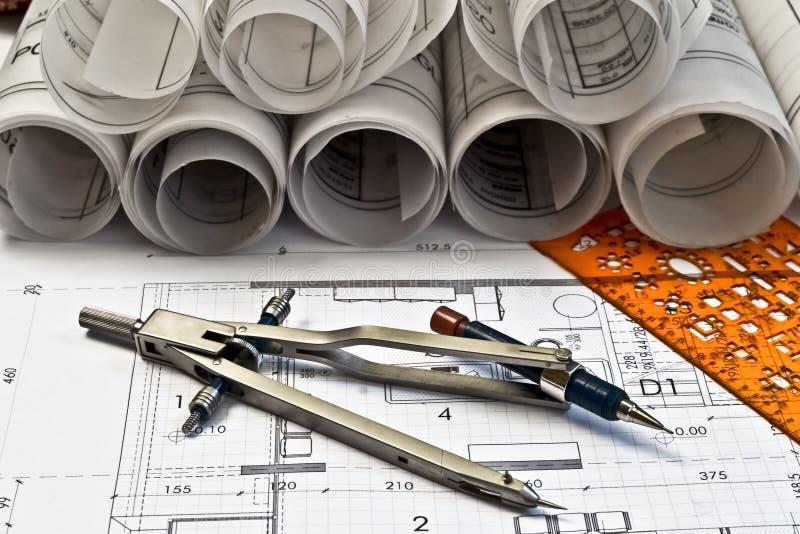 arkitektoniska ritningar arkivbilder