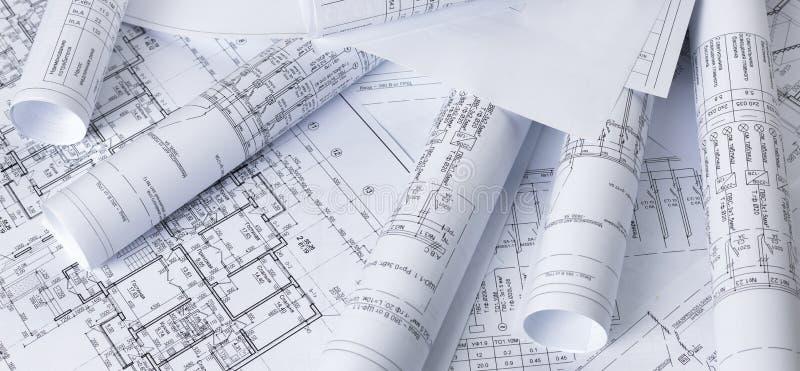 Arkitektoniska ritningar arkivbild