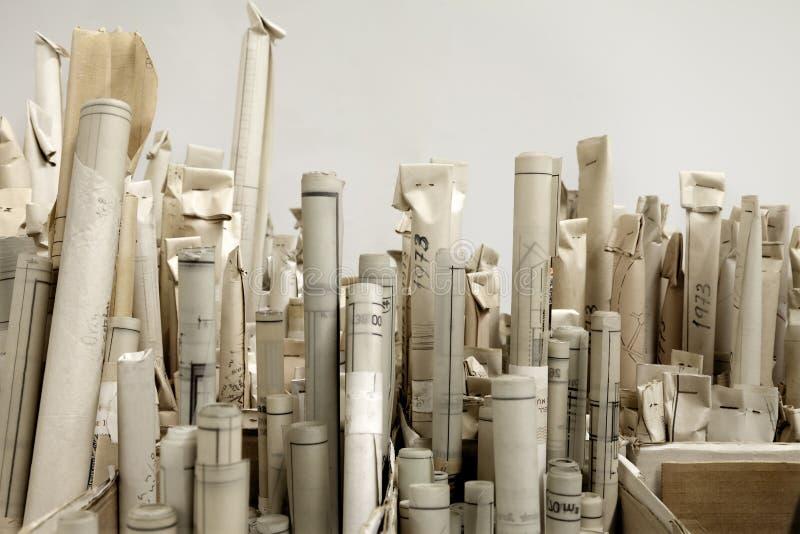 Arkitektoniska rullar arkivfoto