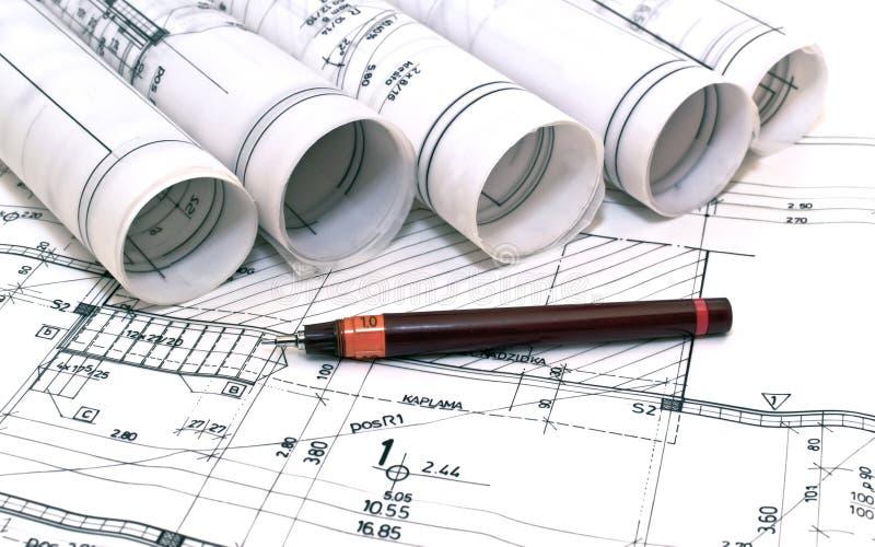 Arkitektoniska teckningar projekterar arkivbilder