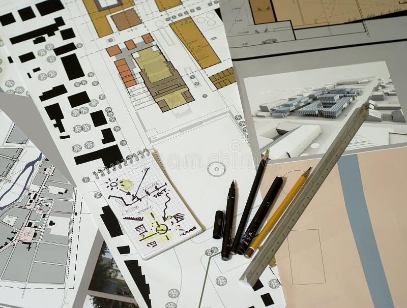 Arkitektoniska teckningar, ritningar, planera för stad arkivbilder