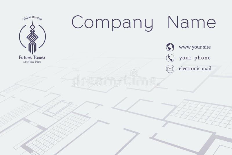 Arkitektoniskt affärskort för vektor stock illustrationer