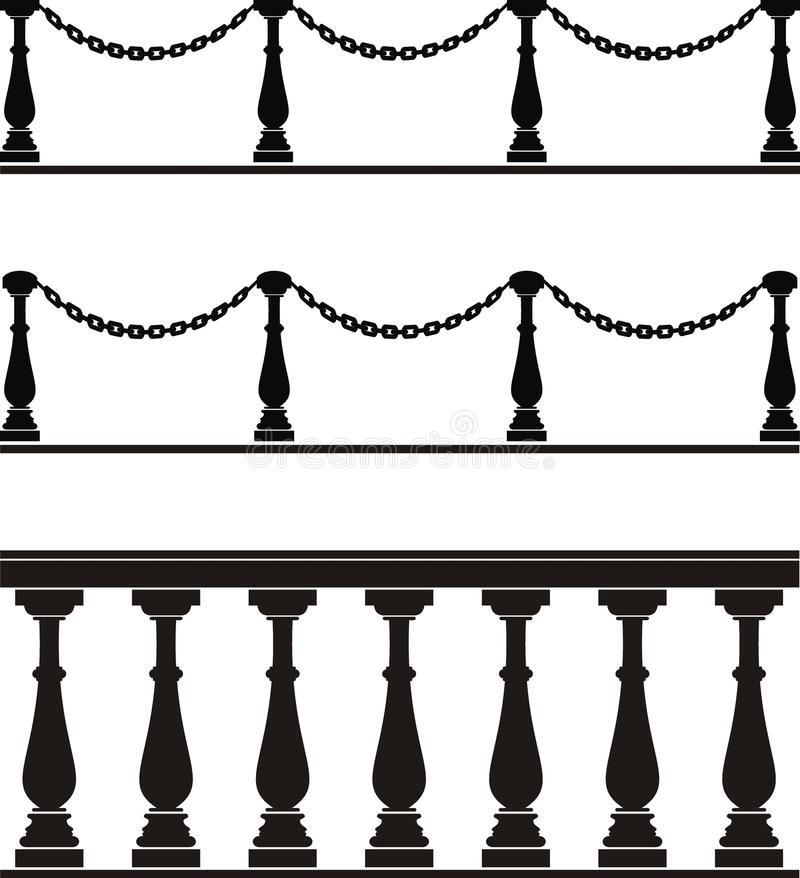 arkitektoniskt balustradelementstaket royaltyfri illustrationer