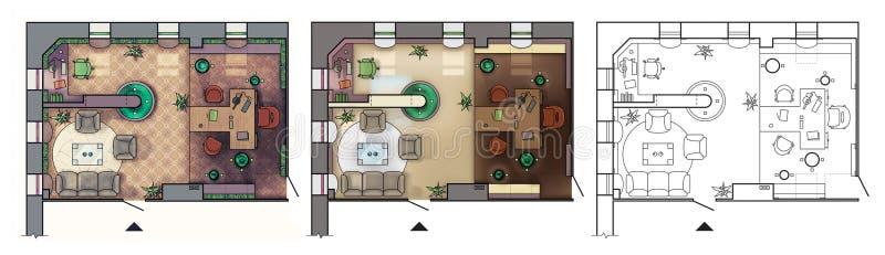 Arkitektoniskt golvplan av det inre funktionsdugliga kabinettet med möblemang, modernt kontor, i bästa sikt vektor illustrationer