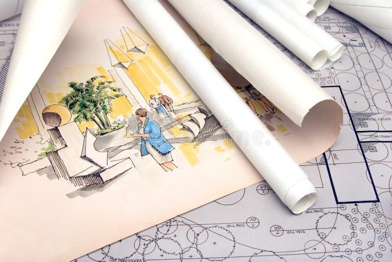 Download Arkitektoniskt Liggandeplan Fotografering för Bildbyråer - Bild av skissning, inre: 518901