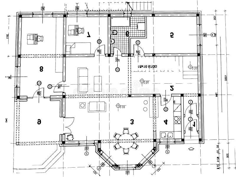 arkitektoniskt plan stock illustrationer