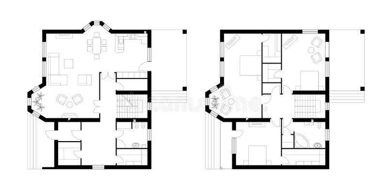 Arkitektoniskt plan av envåning mangårdsbyggnad med en terrass T stock illustrationer