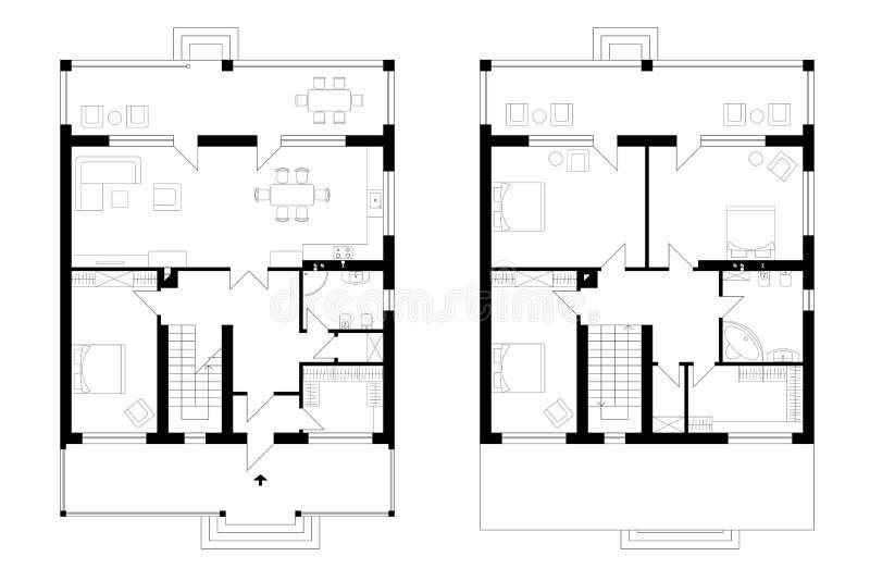 Arkitektoniskt plan av envåning mangårdsbyggnad med en terrass T royaltyfri illustrationer